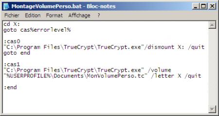 Script TrueCrypt pour Windows